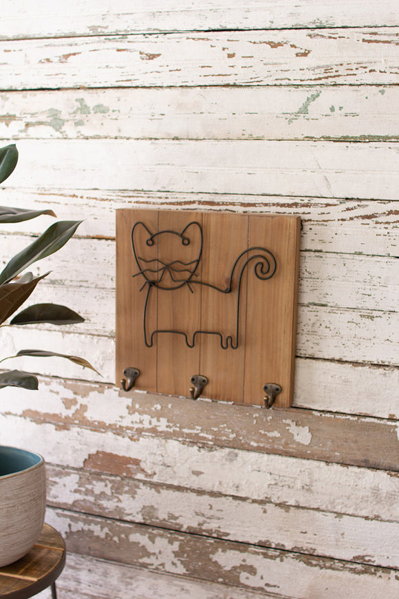 wood and metal pet wall hooks \ cat