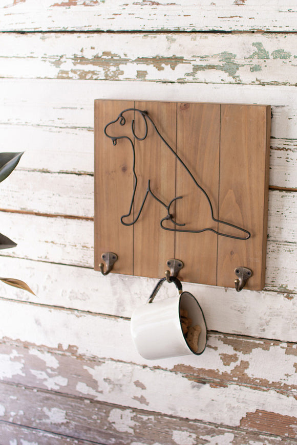 wood and metal pet wall hooks \ dog