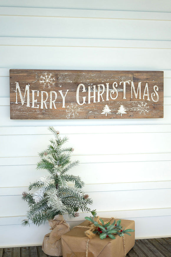 merry christmas sign on recycled wood