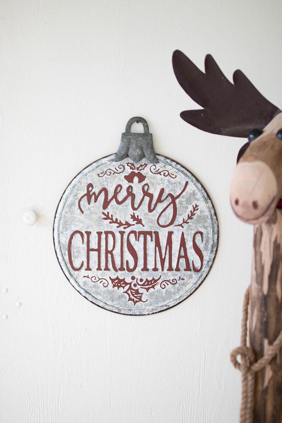 painted metal merry christmas ornament sign