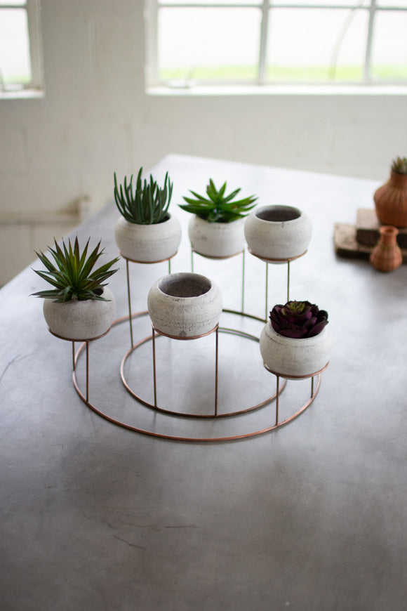 set of 6 white clay planters with copper finish wire centerpiece