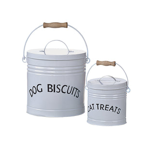 donation with purchase | set of 2 white enameled pet treat containers