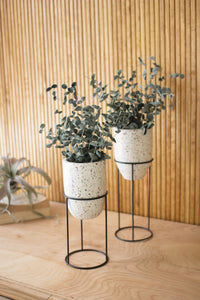 set of 2 terrazzo planters with iron stands
