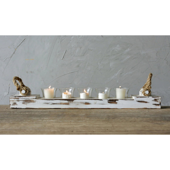 distressed white wood votive holder with 5 glass inserts