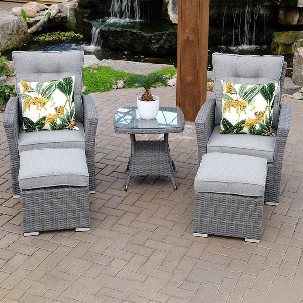 Monaco Reclining 5 Piece Chat Set - Anthracite
