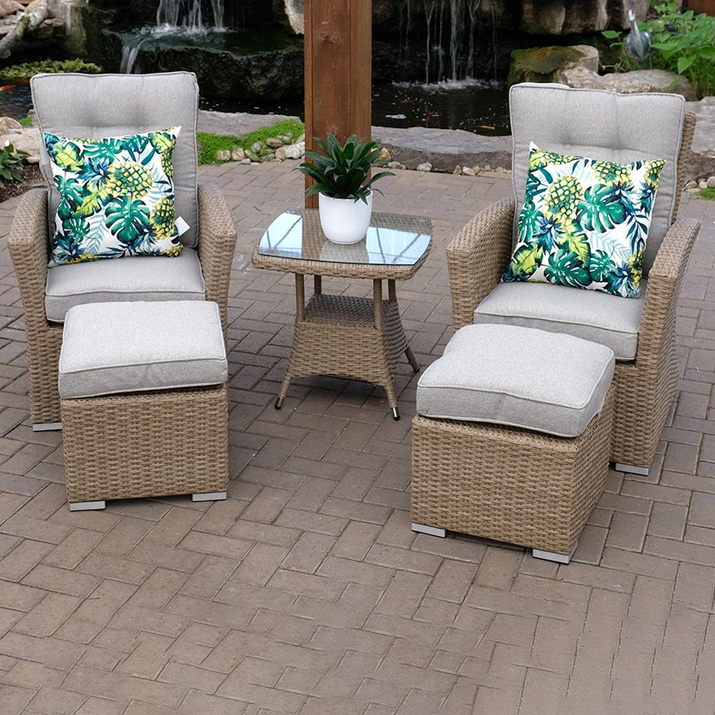 Monaco Reclining 5 Piece Chat Set - Seagrass