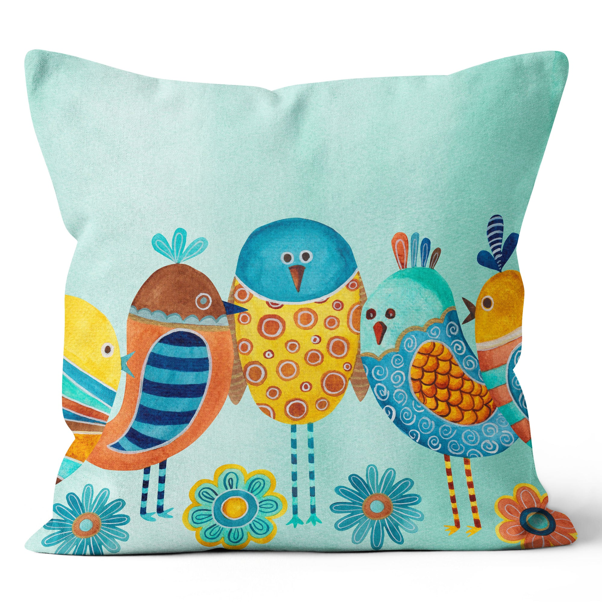 Tropical Heat Whimsical Blue Birds Cushion