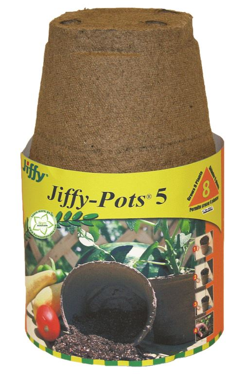"Jiffy Peat Pots 5"" Round 8 Pack"