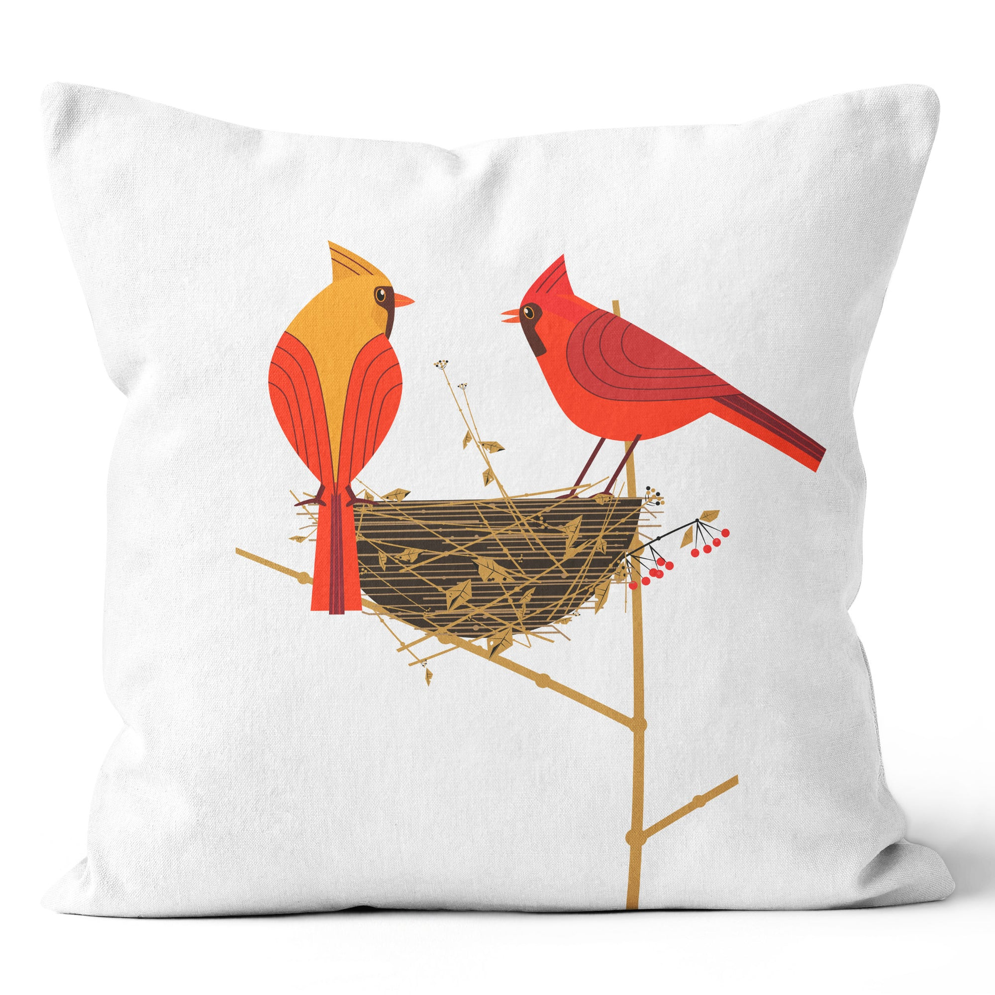 Ecotopia Cardinal Couple Nest Cushion