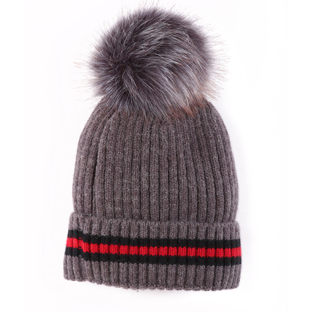 Toque With Stripe Charcoal