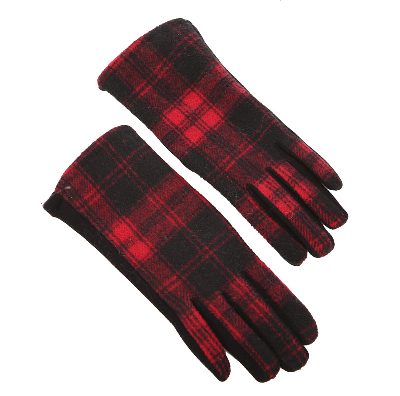 Gloves Ladies Check Red