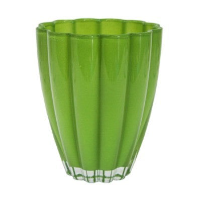 Round Glass Orchid Container Lime Green