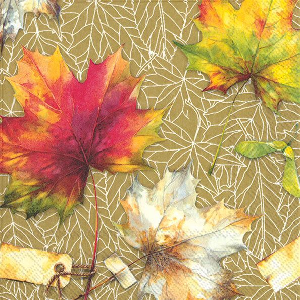 Country Leaves Ochre- Cocktail Napkin