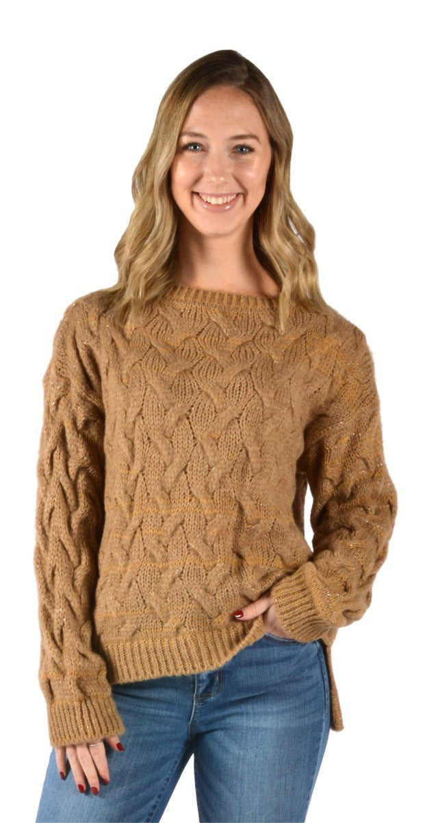 Camel Cableknit Women's Sweater W/Silver