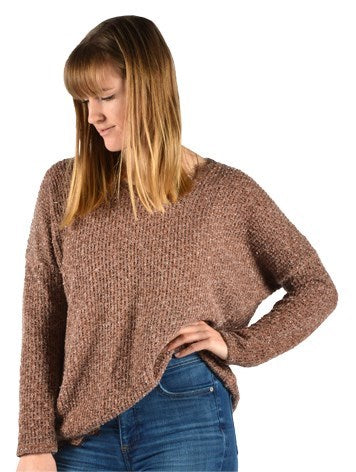 Brown Glitter Top With Lace Trim Women's