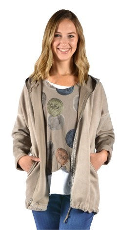 Taupe Glitter Trim Women's Hooded Jacket