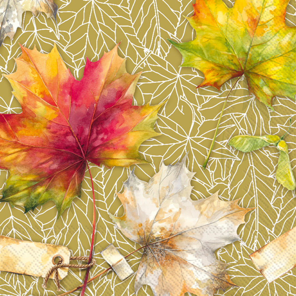 Country Leaves Ochre- Lunch Napkin