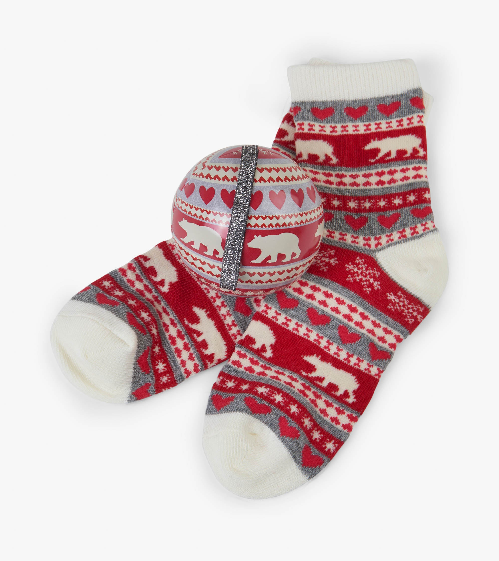 Fair Isle Bear Kid's Socks In Ball
