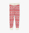 Bear Fair Isle Women's Red Sleep Leggings L