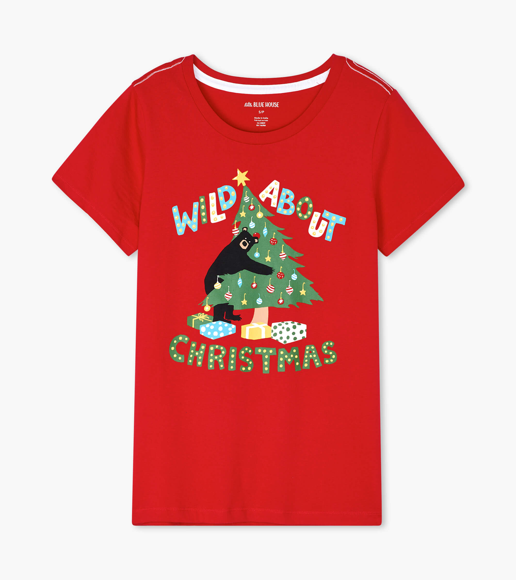 Wild About Christmas Women's Red Pajama Tee L