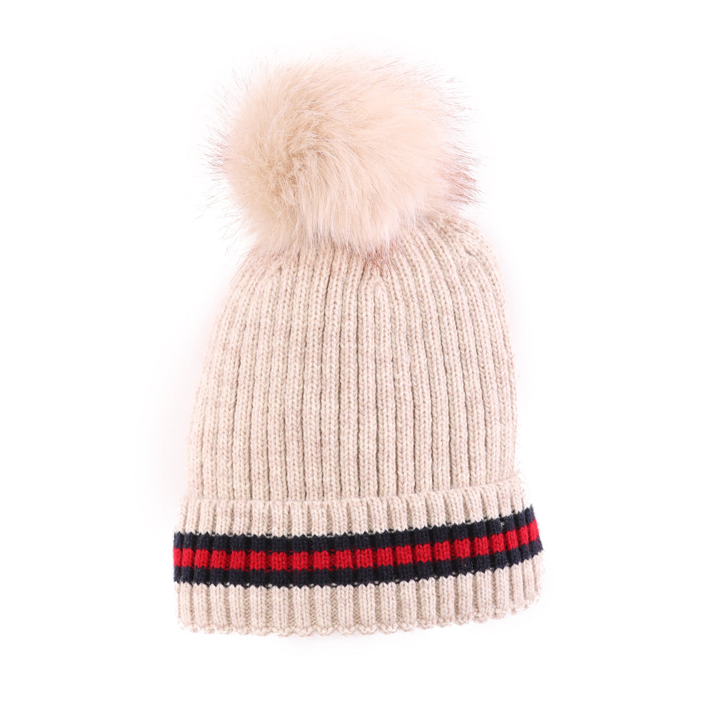 Toque With Stripe Beige