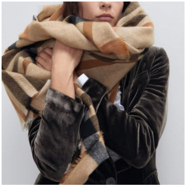 Scarf Oversized Plaid Taupe