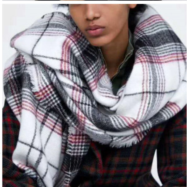 Scarf Oversized Plaid White