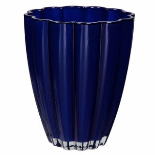 Round Glass Orchid Container Royal Blue