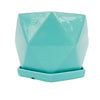 Gwen Hexagonal Ceramic Pot with Saucer 19cm Aqua Blue