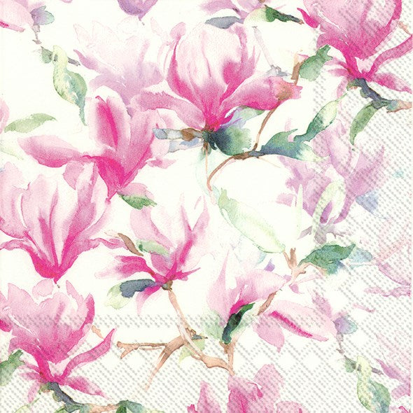 Magnolia Poesie White - Lunch Napkin