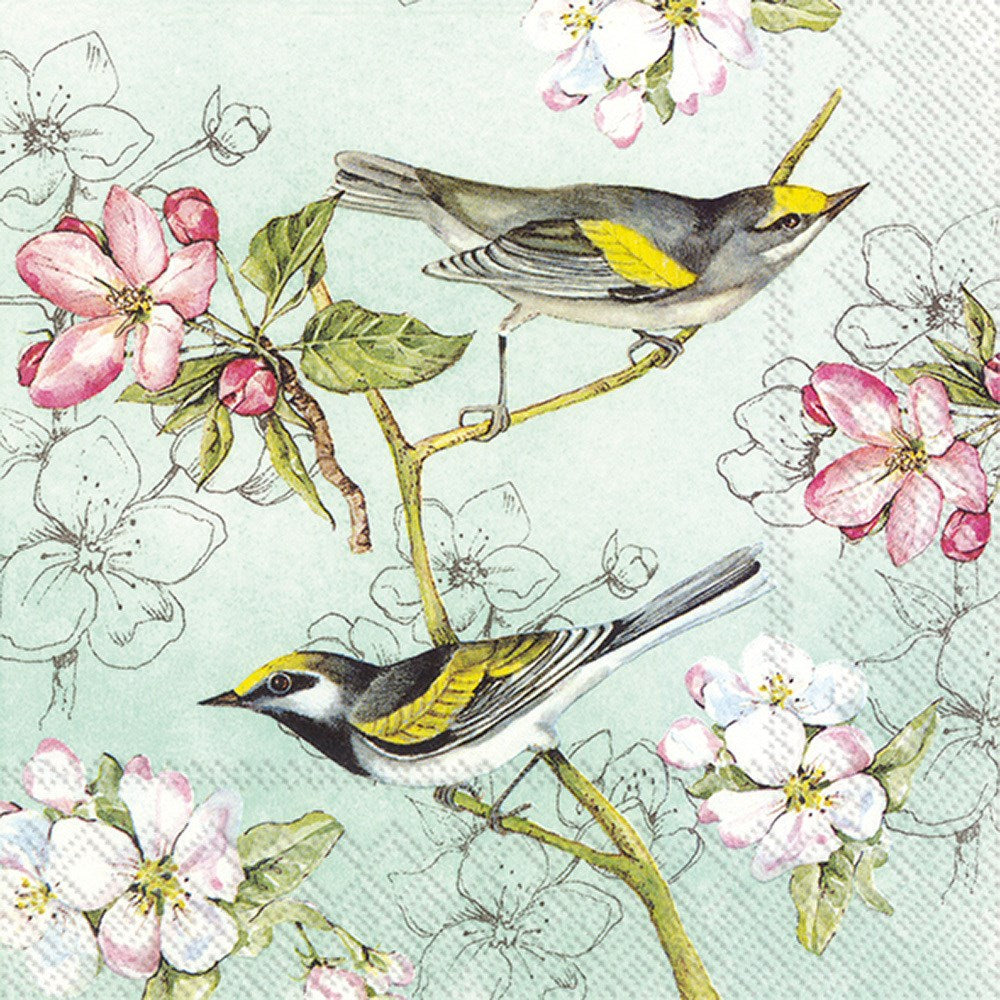 Birds Symphony Green - Lunch Napkin