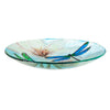 Glass Bird Bath with Stand, Resting Dragonfly 16""