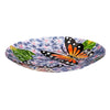 Hand Painted Embossed Glass Bird Bath, Monarchs Purple 18""
