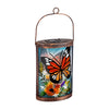 Hand Painted Solar Glass Lantern, Floral and Monarch Butterfly