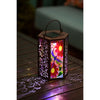 Dragonfly Hand Painted Embossed Glass Metal Solar Lantern