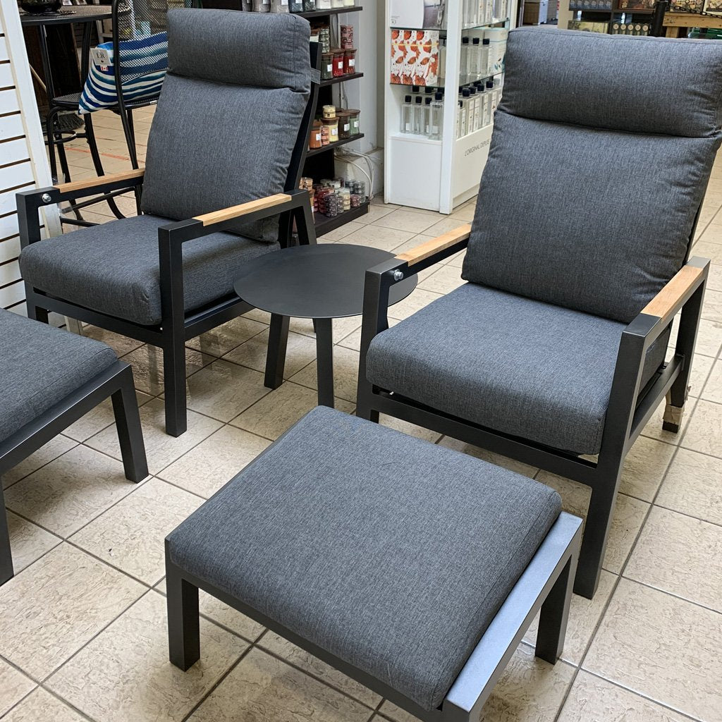 Como 5 piece Chat Set - Anthracite & Dark Grey