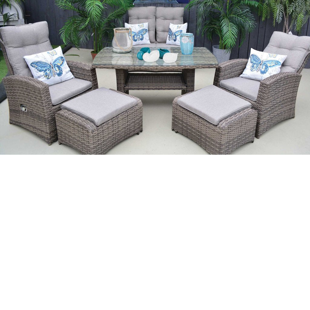 Swansea 6 piece Dining Set - Driftwood & Light Brown
