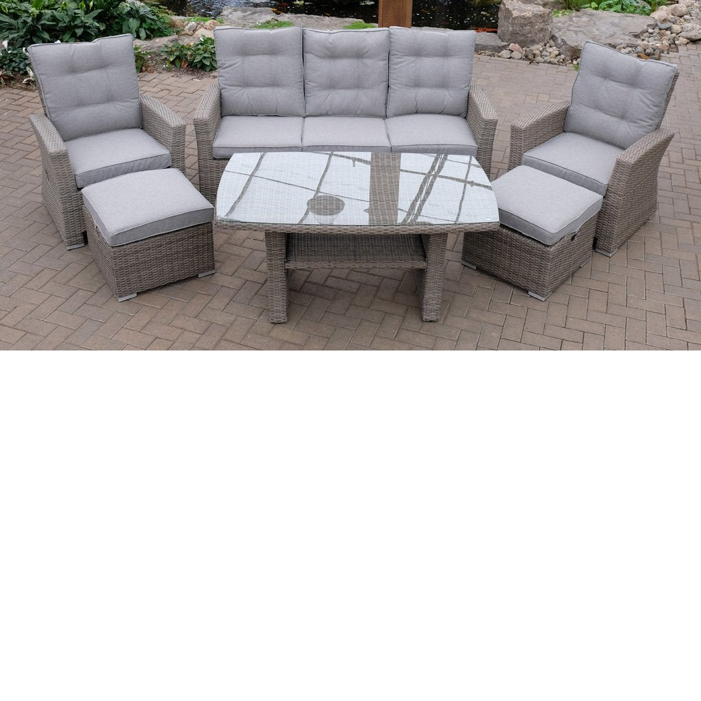 Hacienda 6 Piece Sofa Deepseating Set - Driftwood