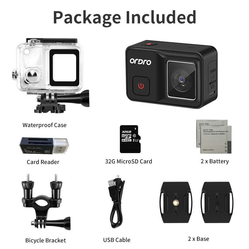 New ORDRO Brave 4K Waterproof Action Camera  Sport Cameras with 120°  Wide Angle