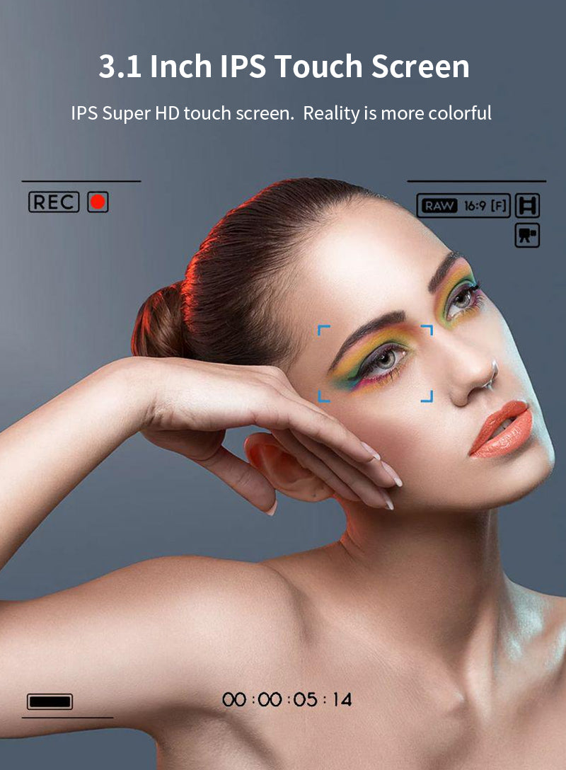 The AC3 video camera Portable Camcorder features a high-resolution touch screen.  The screen can be flipped 270 degrees.