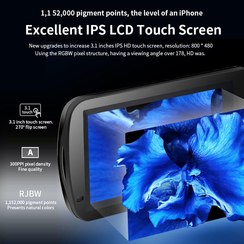 """【CMOS Sensor & 3.1"""" IPS Touch Screen】CMOS sensor, it can sense the surroundings and process complex light delicately. Support Selfie, white balance setting, smile capture."""
