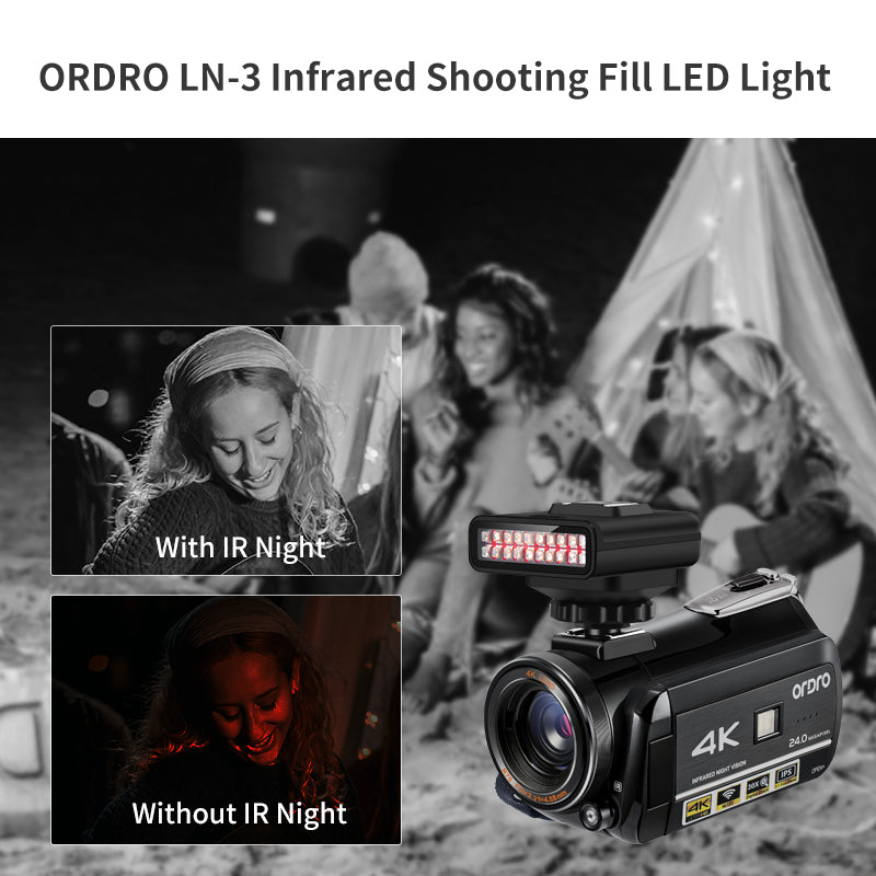 ORDRO LN-3 Infrared Night Vision Light Lamp USB Rechargeable IR LED Light