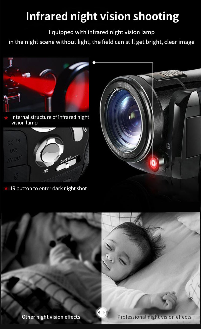 Infrared night vision video camera opens IR light for an outdoor night shot record videos at night, you can shoot animals, birds, flowers, or other scenery. The images are black and white in colour, give you a different view feeling and visual effect.