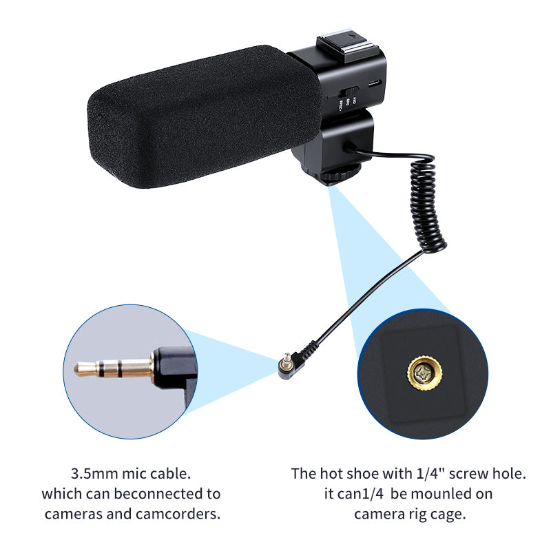 "The hot shoe with 1/4"" screw hole. it can 1/4  be mounled on camera rig cage.   3.5mm mic cable. which can beconnected to cameras and camcorders."