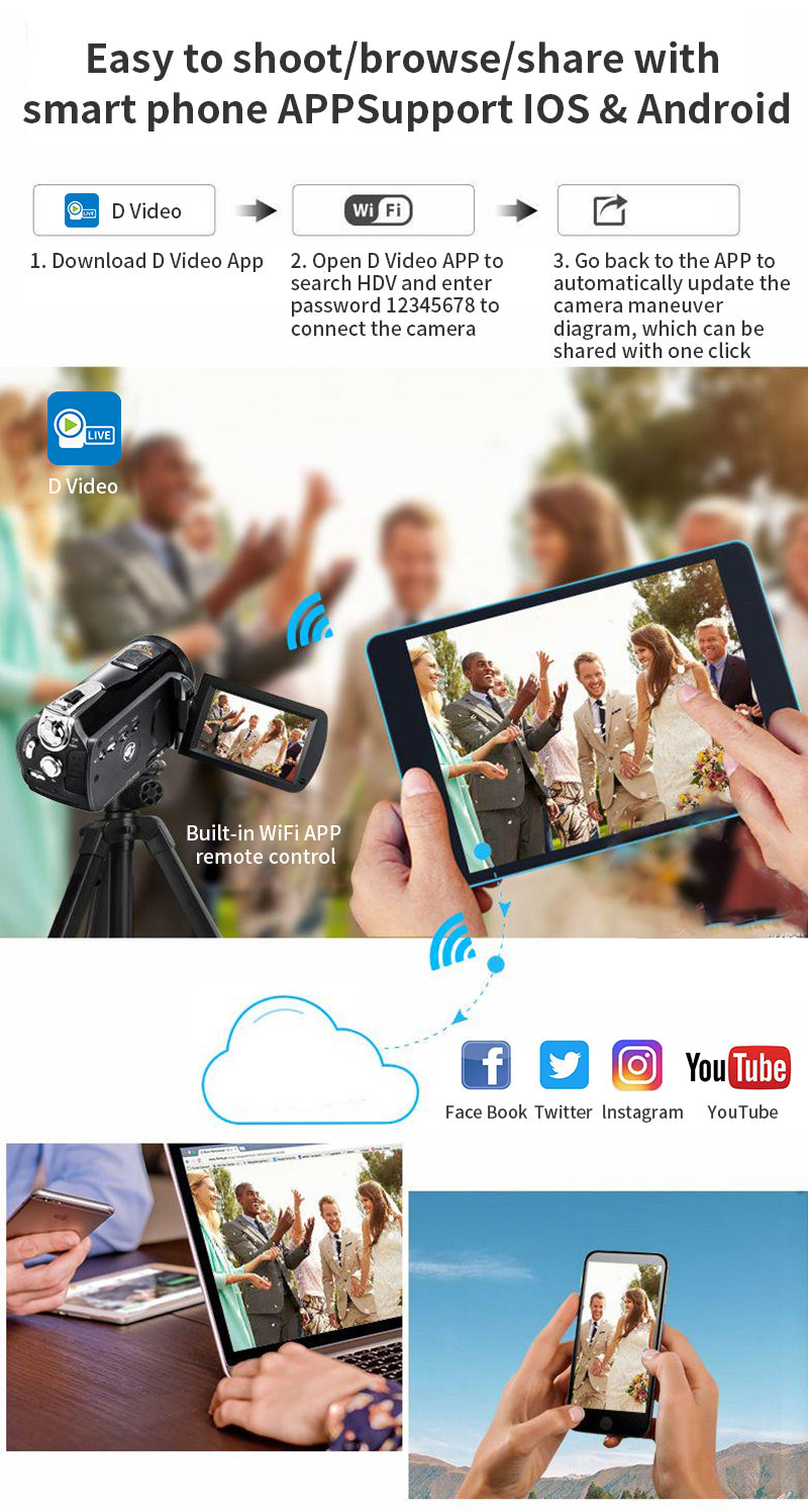Connect to your camcorder with ORDRO dedicated mobile app, instantly download and edit your video, and instantly share it to your social media and websites.