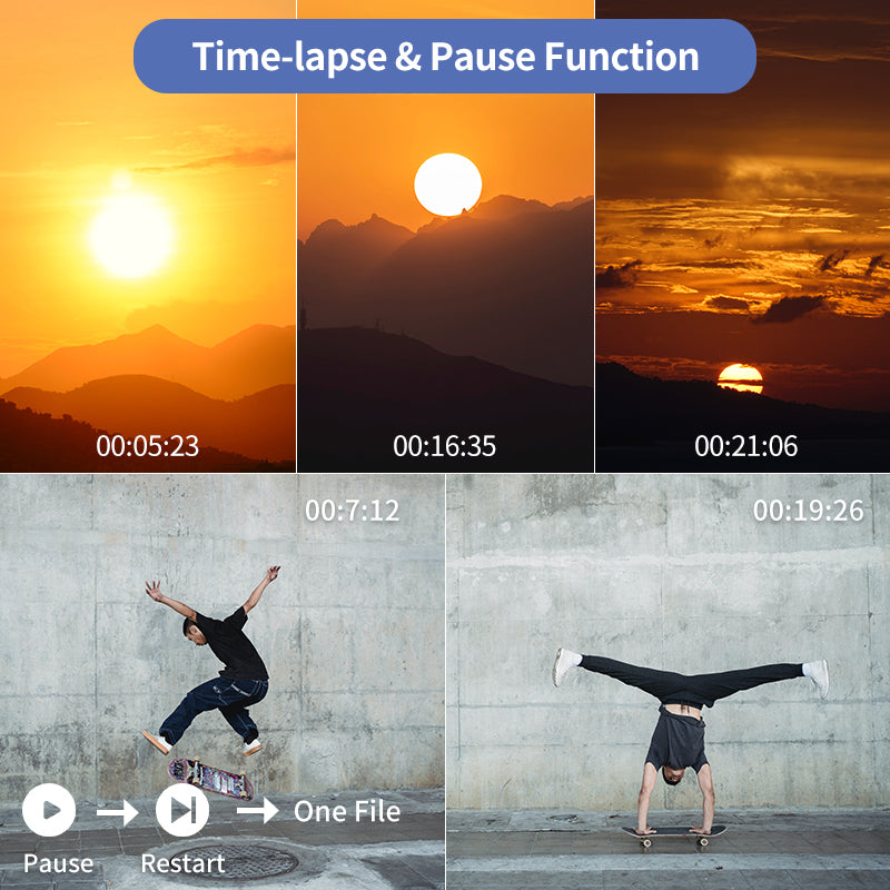 support ac5【Time-lapse Recording】Time-lapse shooting can compress a longer video onto the captured video and play it in a short time.