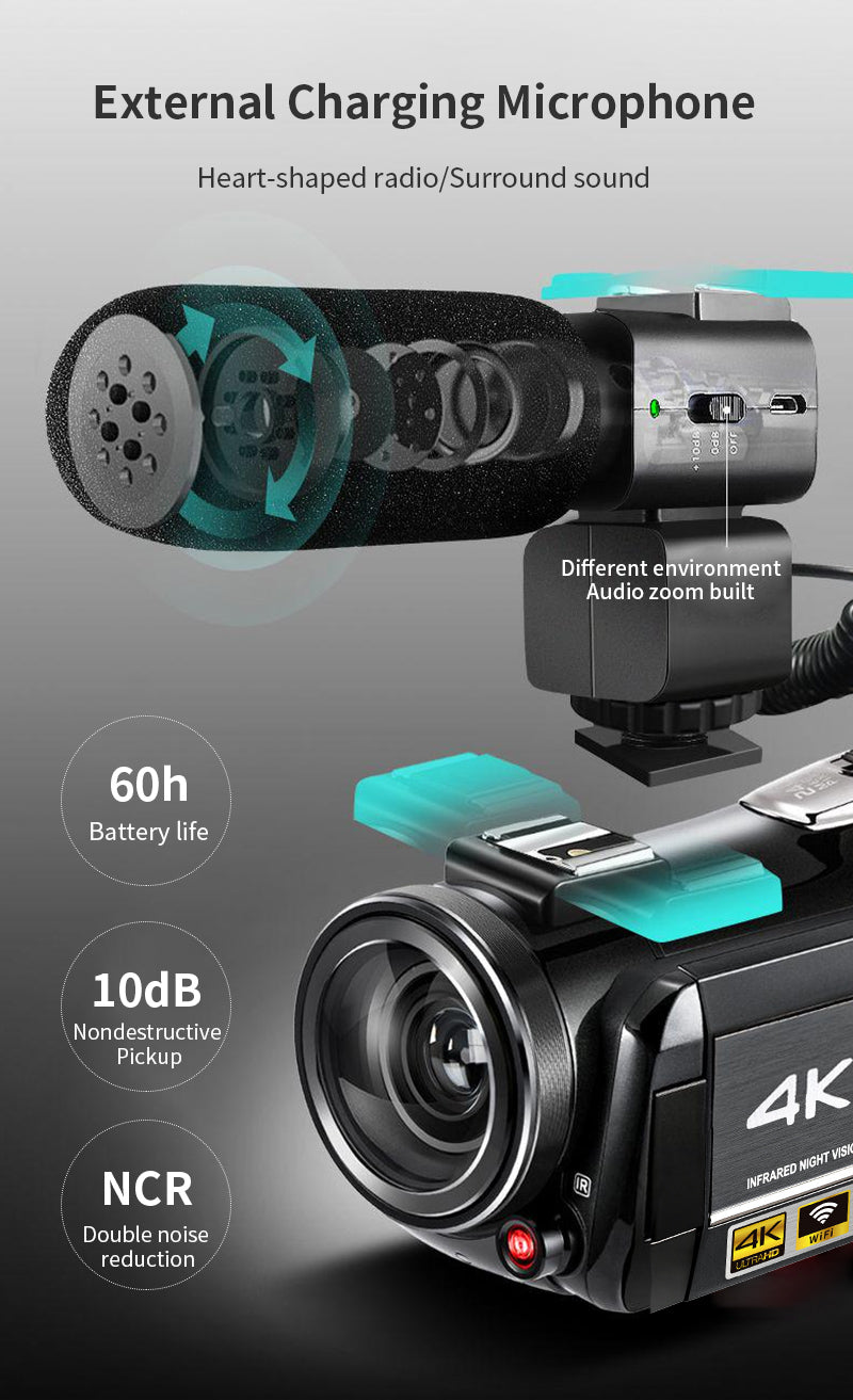 Video camcorder with high-performance,  Our microphone adopts XY stereo pickup technology to effectively reduce background noise and wind noise, Built-in 200mAh polymer lithium battery, and 3.5mm audio output cable.