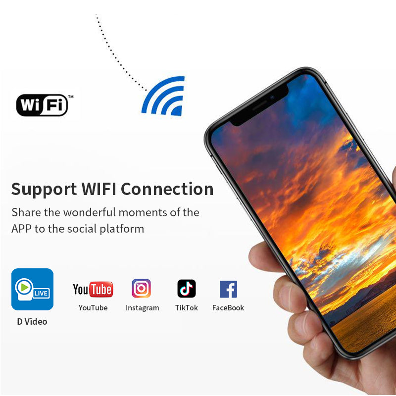 """【 WiFi camcorder】Download the APP named """"D video"""" on your smartphone, you can download videos and pictures on the APP, and share them with your friends at any time."""