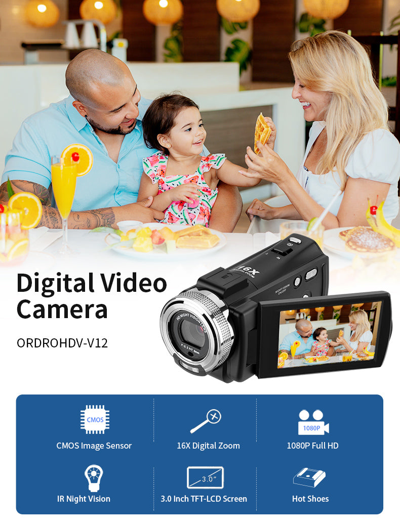 This HD 1080P video camera camcorder is perfect for any age to do small video projects, or family videos, or just a video hobbyist, etc.
