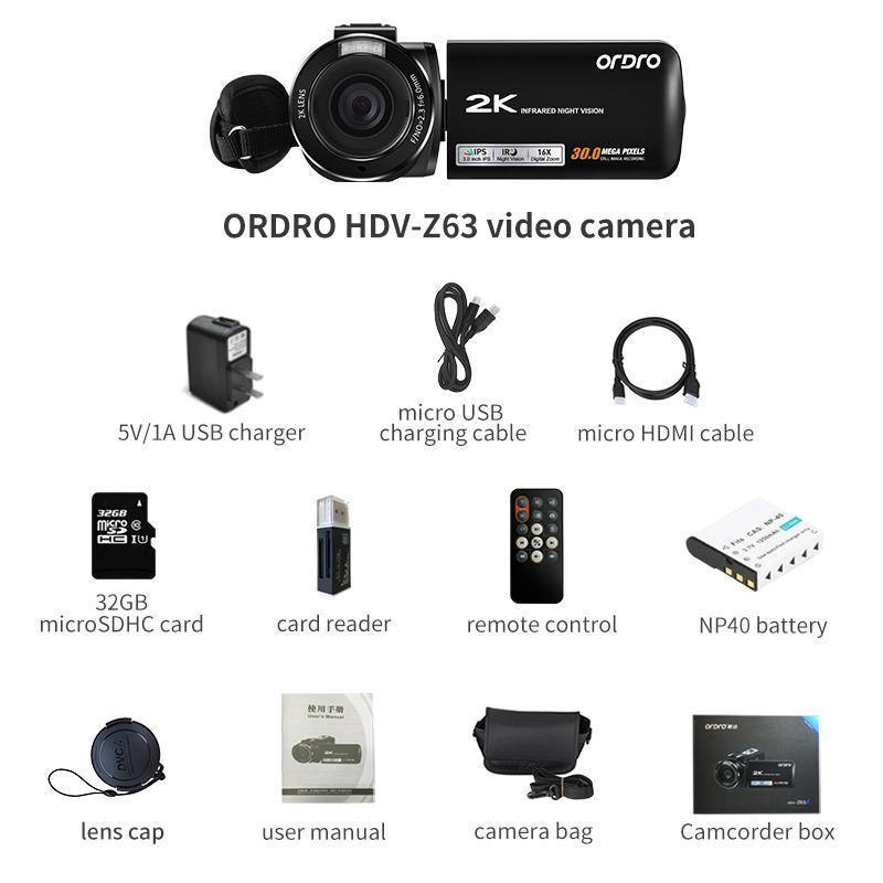 ORDRO Camcorder 2K Video Cameras  With 16X Digital Zoom & Webcam Function Z63 - Ordro